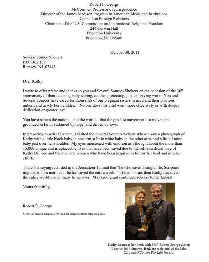 Robert P George letter